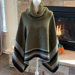Army Green Black and Gray Turtleneck Poncho